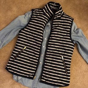Old Navy Quilted Puffer Vest Striped Petite Small
